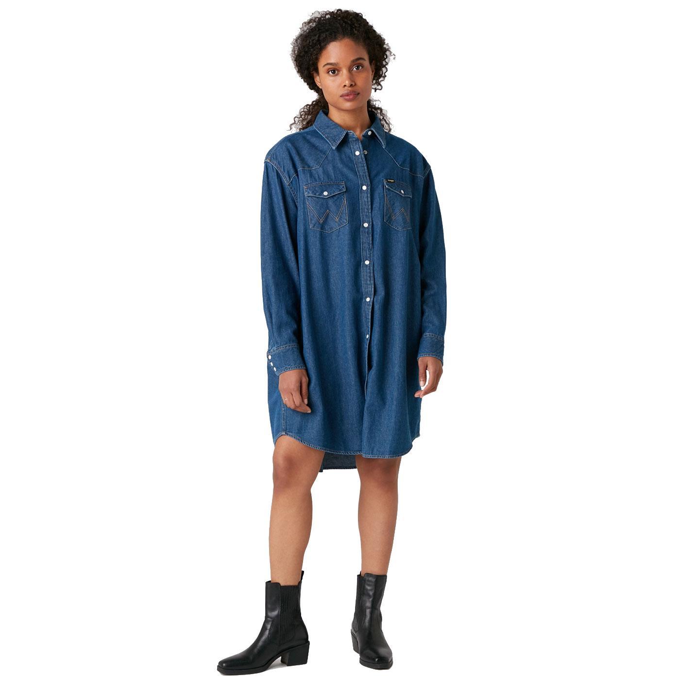 WRANGLER Womens Retro Oversized Denim Shirt Dress