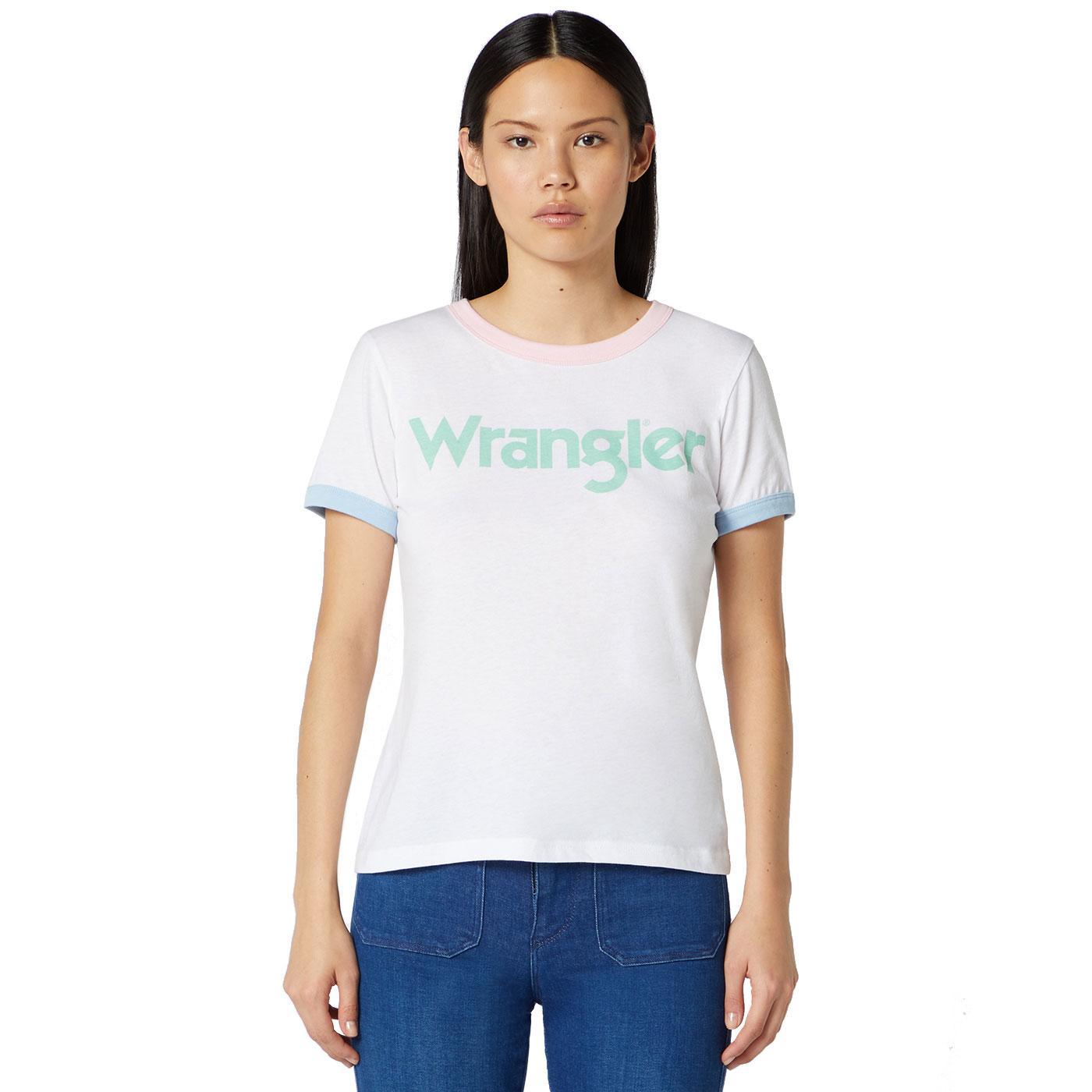 WRANGLER Women's Retro Pastel Logo Ringer T-Shirt