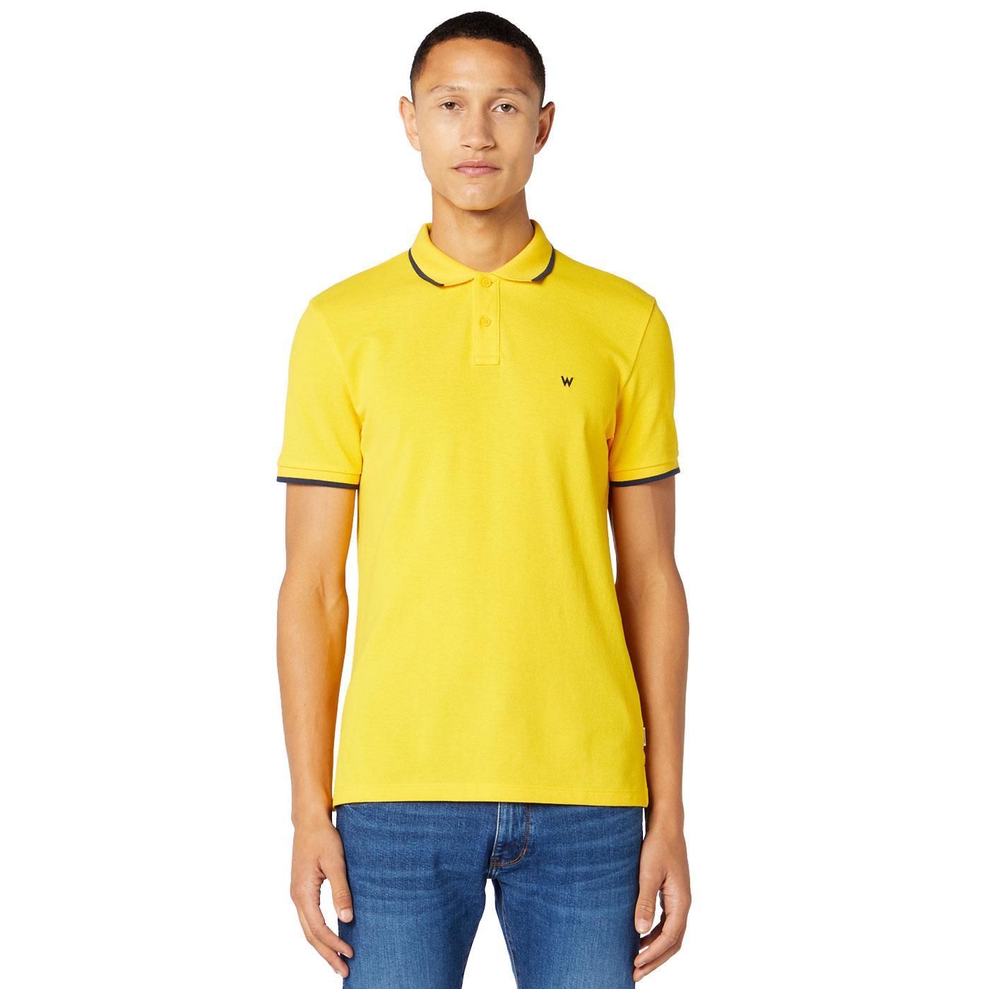 WRANGLER Men's Retro Tipped Pique Polo Shirt LEMON