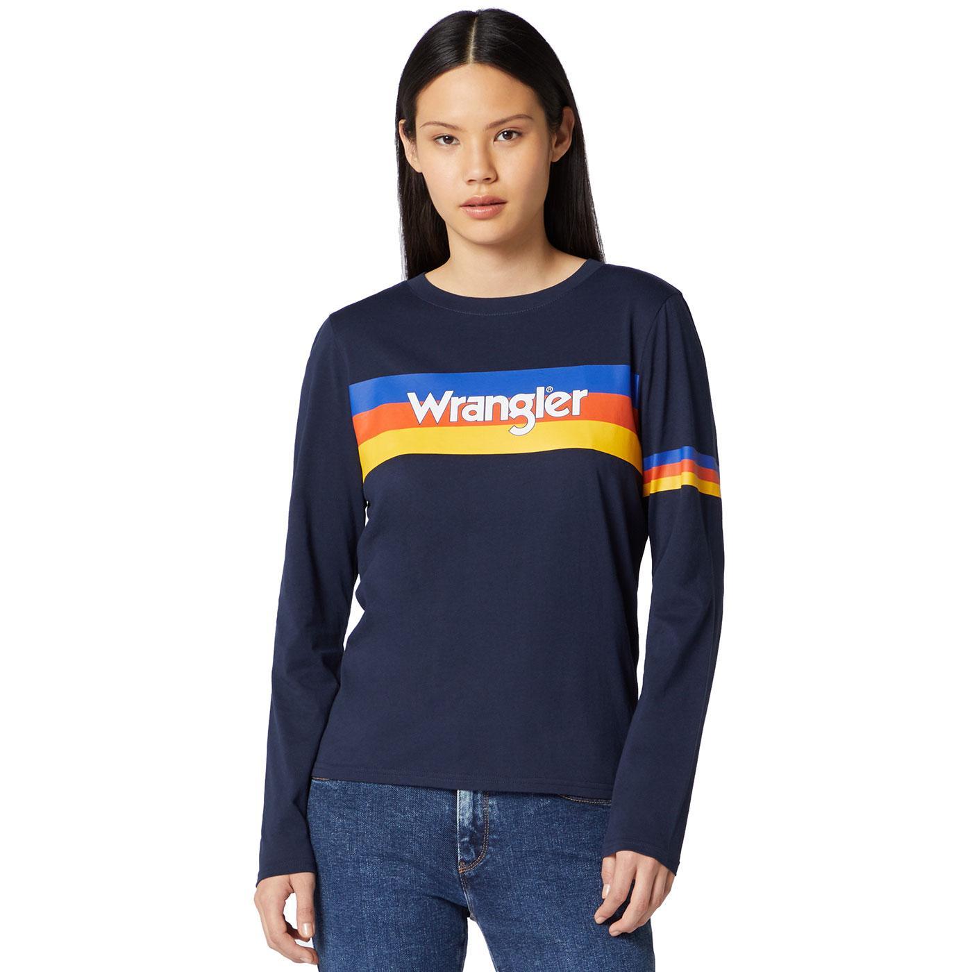 WRANGLER Women's Long Sleeve Rainbow Stripe Tee