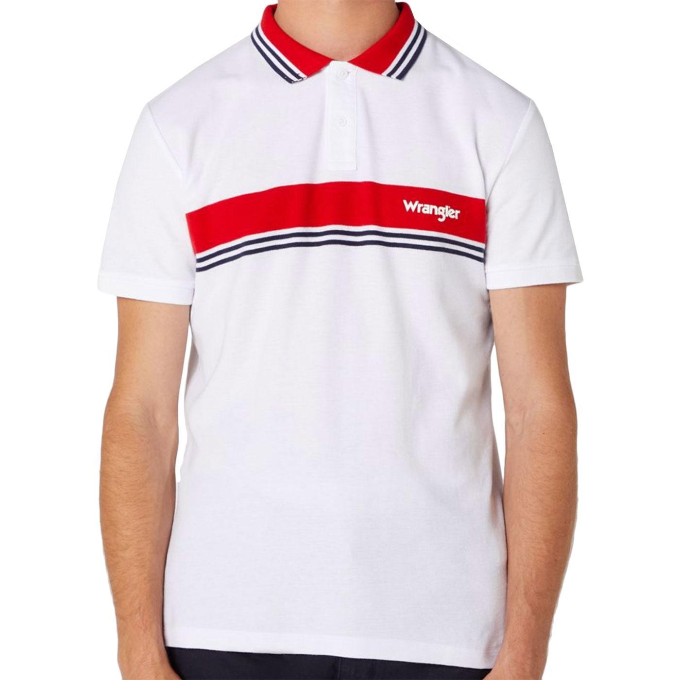 WRANGLER Men's Retro Colour Block Polo Top (White)