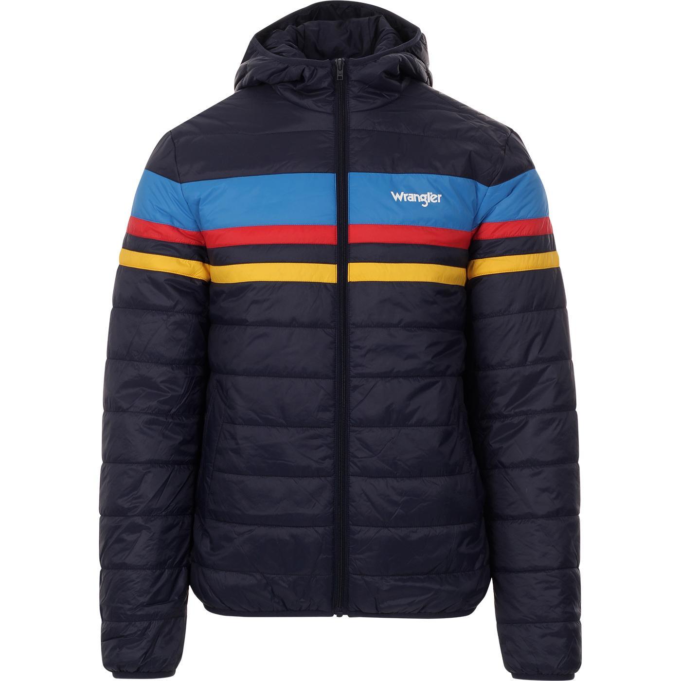 WRANGLER Retro 70s Rainbow Puffer Jacket (Navy)