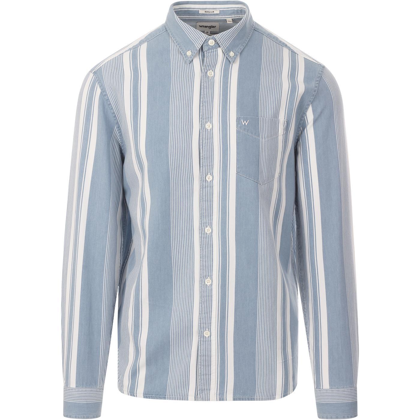 WRANGLER Mod Stripe Button Down Shirt LIGHT INDIGO