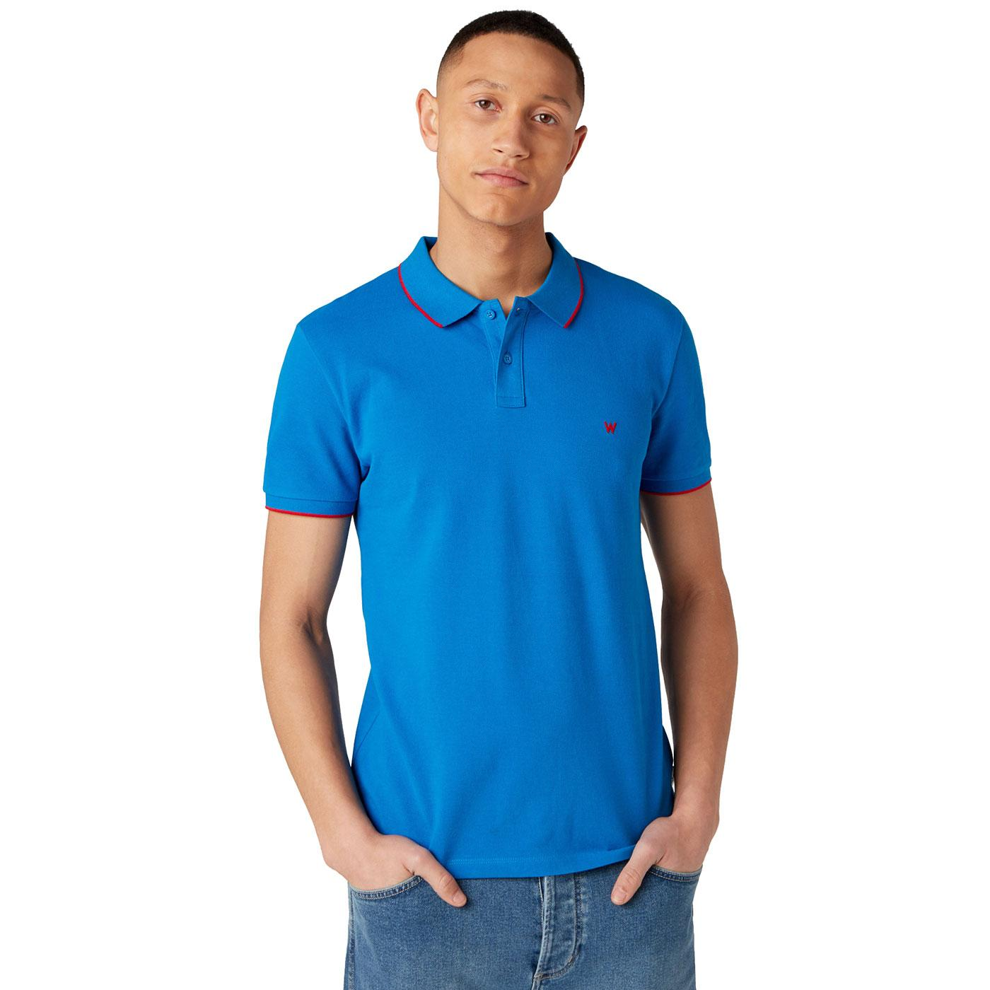 WRANGLER Men's Retro Tipped Pique Polo Shirt BLUE