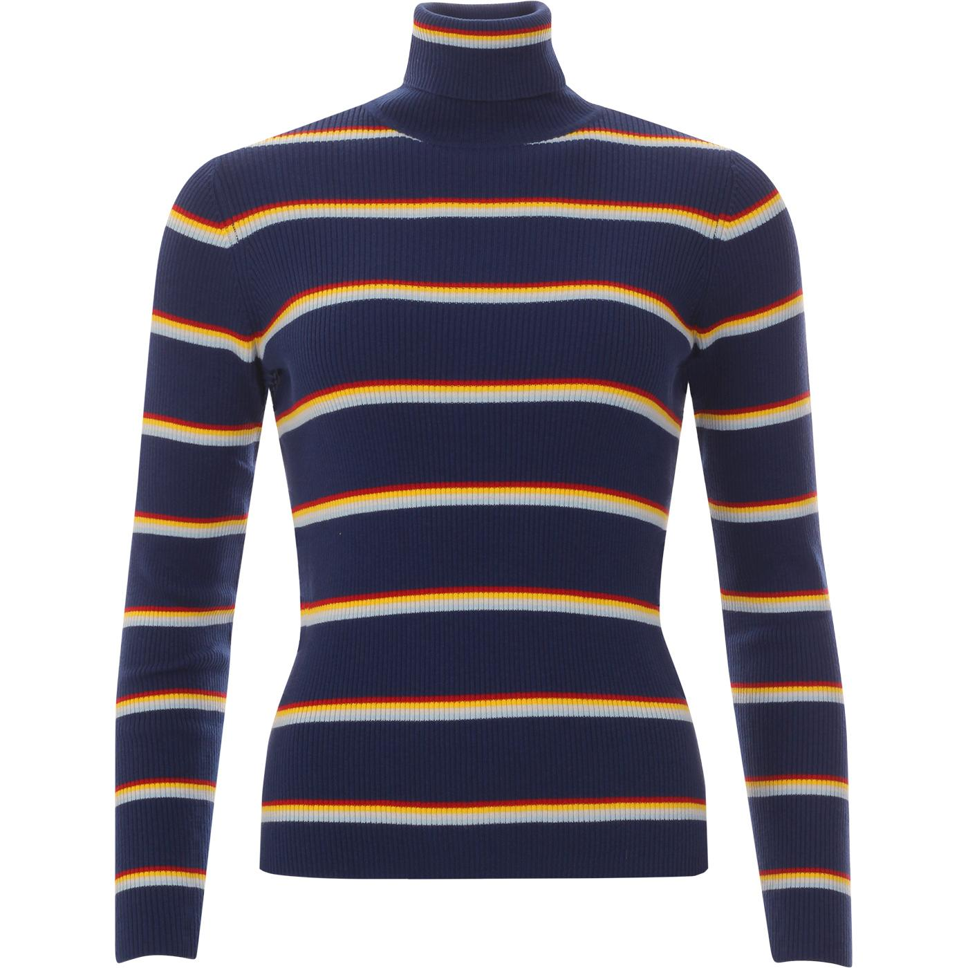 WRANGLER Womens Retro Stripe Turtle Neck Jumper BD
