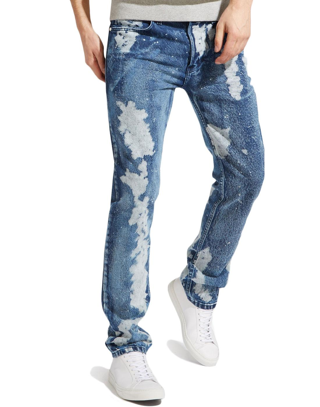 Spencer WRANGLER Retro 70s Bleach Patch Slim Jeans