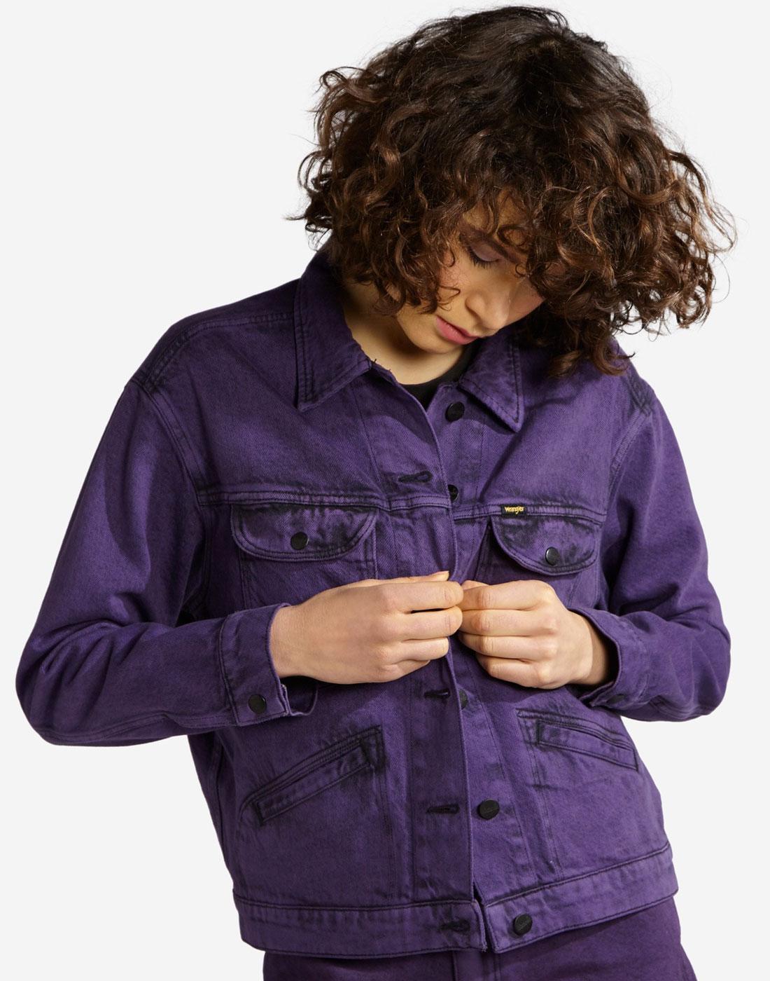 WRANGLER Womens 70s Purple Pop Denim Retro Jacket