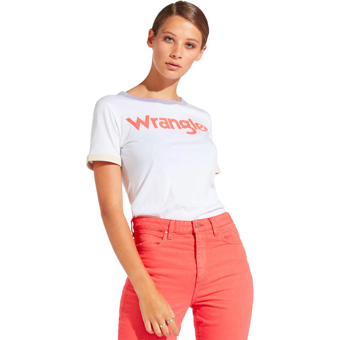 WRANGLER Women's Retro 1970s Logo Ringer Tee WHITE