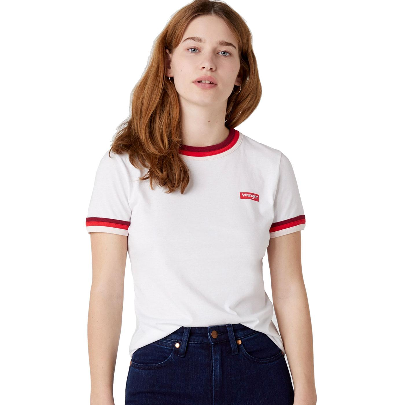 WRANGLER Women's Retro 90s Triple Ringer Tee WHITE