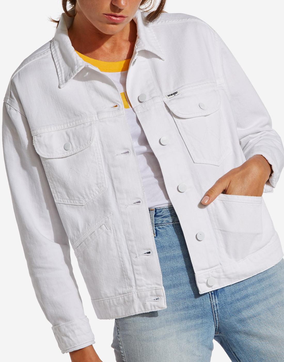 WRANGLER Women's Retro 60s Mod White Denim Jacket