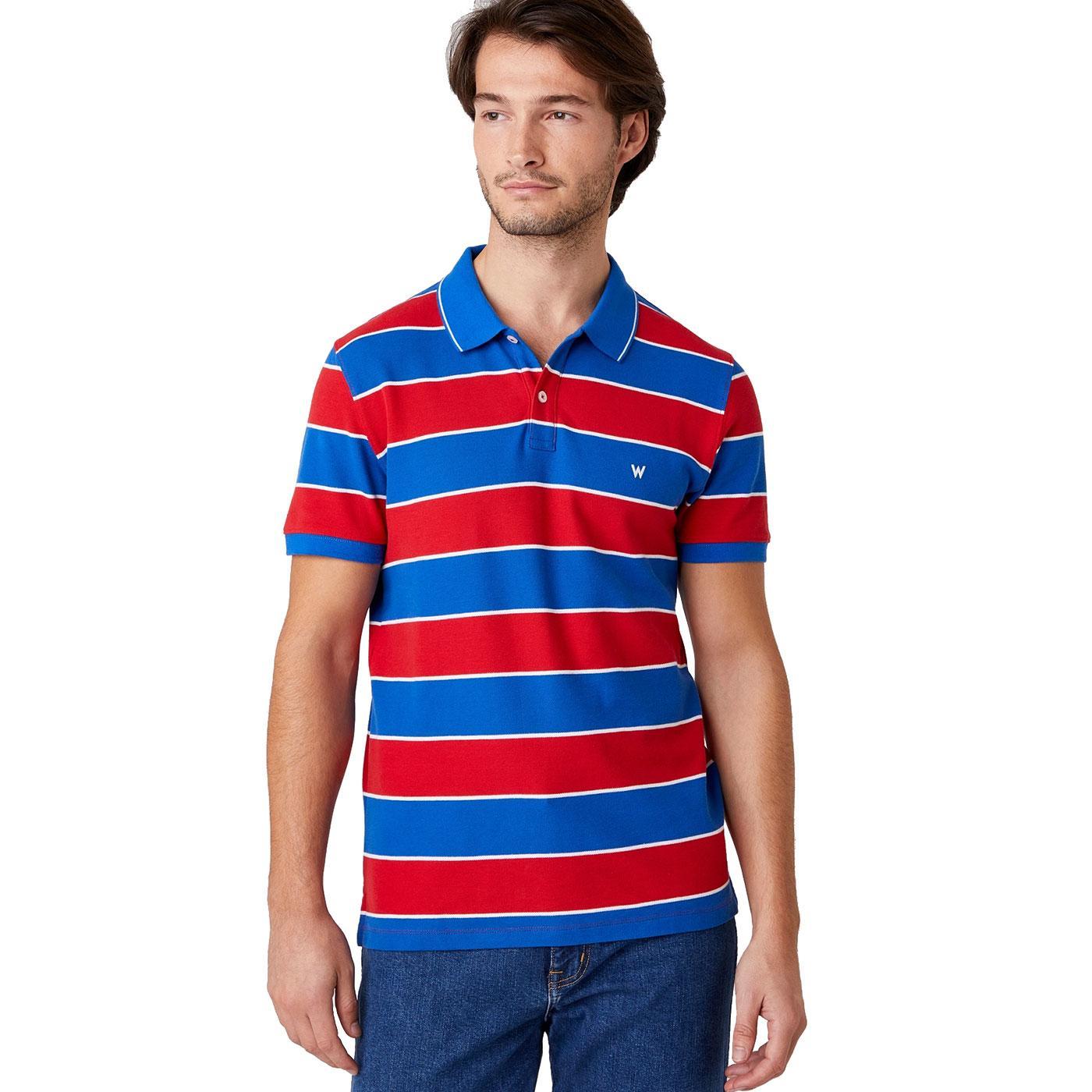 WRANGLER Mens Retro Yarn Dye Stripe Pique Polo
