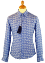 1 LIKE NO OTHER RETRO MOD 70S FLORAL BLUE SHIRT