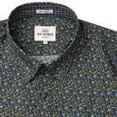 BEN SHERMAN Retro Mod Floral Print Shirt - Forest