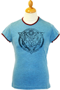 Bobcat FLY53 Retro Fifties Indie Logo Ringer Tee B