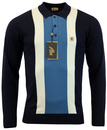 GABICCI VINTAGE 60s Mod Stripe Panel Knitted Polo