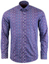 GUIDE LONDON Sixties Psychedelic Pattern Mod Shirt