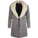 Louche alameda fur collar coat cream black
