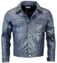 MADCAP ENGLAND RETRO MOD 70S LEATHER JACKET BLUE