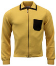 Kevan Retro 60s Mod Suede Trim Zip Through Top