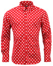 MADCAP PENNY DOT LANE RETRO MOD 60s RED SHIRT