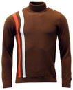 MADCAP ENGLAND RETRO 60s MOD RACING JUMPER BROWN