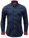 MADCAP ENGLAND RETRO MOD HIGH COLLAR SHIRT NAVY