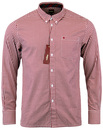 MERC GINGHAM SHIRT JAPSTER BLOOD RED MOD RETRO