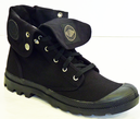 PALLADIUM BAGGY BOOTS BLACK CANVAS MOD INDIE BOOTS