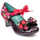 Poetic licence apple spice floral glitter heels black