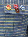 Rands PRETTY GREEN 60s Mod Pin Badge Stripe Jacket