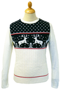 RETRO REINDEER CHRISTMAS JUMPER NAVY 70S XMAS