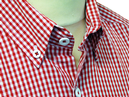 TukTuk Mens Retro Mod Button Down Gingham Shirt R