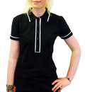 WOMENS RETRO MOD POLO TOP BLACK PIPED POLO 60s 70s