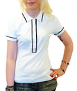 WOMENS RETRO MOD POLO TOP WHITE PIPED POLO 60s 70s