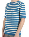 Afield Retro 60s Mod Striped Knitted T-Shirt Blue