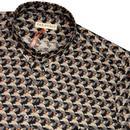 FAR AFIELD Mens Retro 70s Pigeons Geo Print Shirt