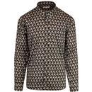 afield pigeon print mod shirt navy