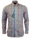 ALAN PAINE Holton 60s Mod Green/Navy Check Shirt