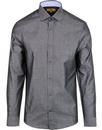 antique rogue spread collar polka dot shirt grey