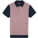 Ben Sherman 1960s Mod Abstract Diamond Jacquard Knit Polo Shirt in Navy