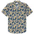 Ben Sherman Retro Floral Botanical Print Resort Collar Mod Shirt in Yellow