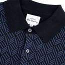 BEN SHERMAN Retro Mod Knitted Jacquard Polo BLACK