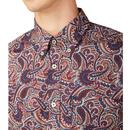 BEN SHERMAN Retro Mod 60s Paisley Shirt in Sienna