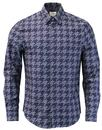 ben sherman linear dogtooth shirt navy mod