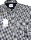 BEN SHERMAN Retro Mod 60s Gingham Shirt - Black