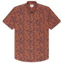 Ben Sherman Men's Retro Floral Summer Short Sleeve Mod Shirt in Anise Orange
