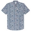 Ben Sherman Men's Retro Floral Summer Short Sleeve Mod Shirt in Mood Indigo
