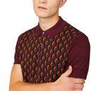 BEN SHERMAN Retro 60s Jacquard Knit Mod Polo