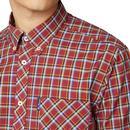 BEN SHERMAN Retro Mod Classic SS Check Shirt (Red)