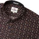 BEN SHERMAN Retro Mod Floral Print Shirt - Camel